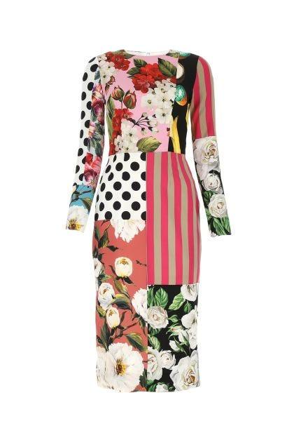 Printed stretch silk sheath dress