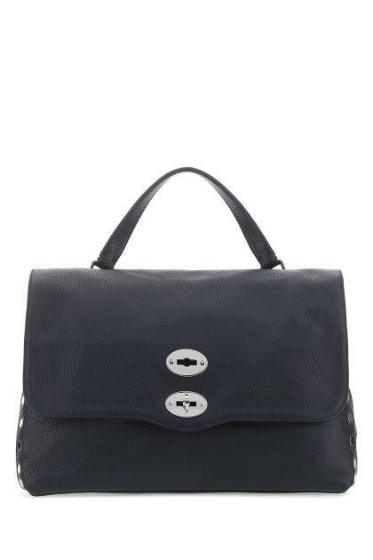 Navy blue leather Postina M handbag