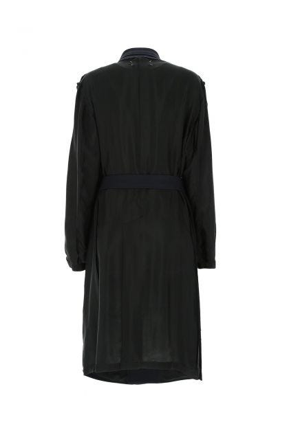 Two-tone cupro and wool blend coat