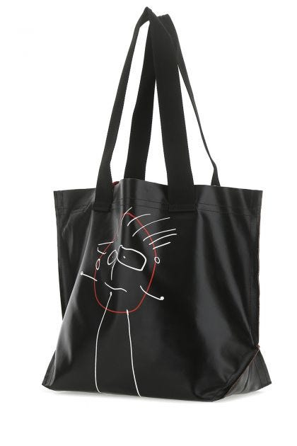 Black fabric medium Pili e Bianca shopping bag