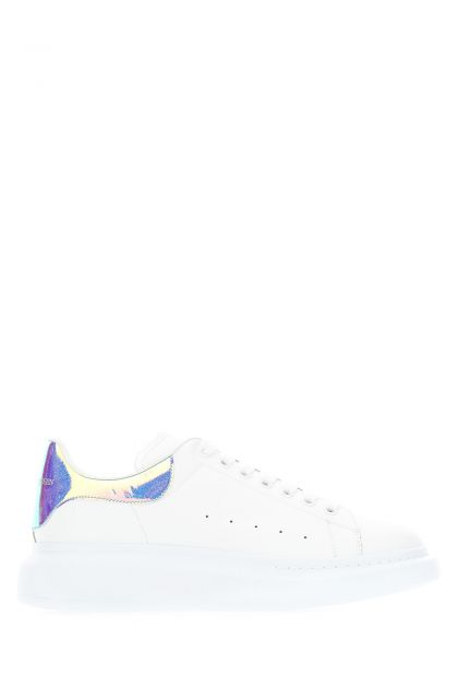 White leather sneakers with holographic heel