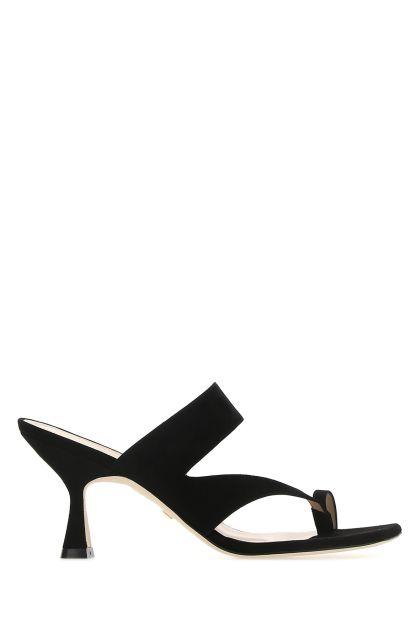 Black leather Lyla 75 thong mules