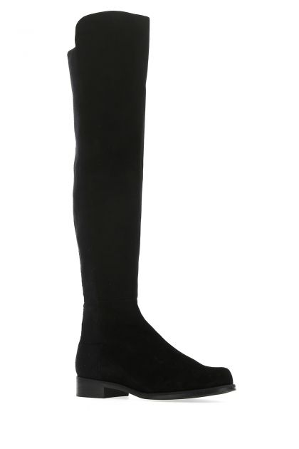 Black leather and fabric 5050 boots