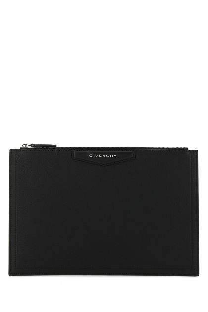 Black leather medium Antigona clutch