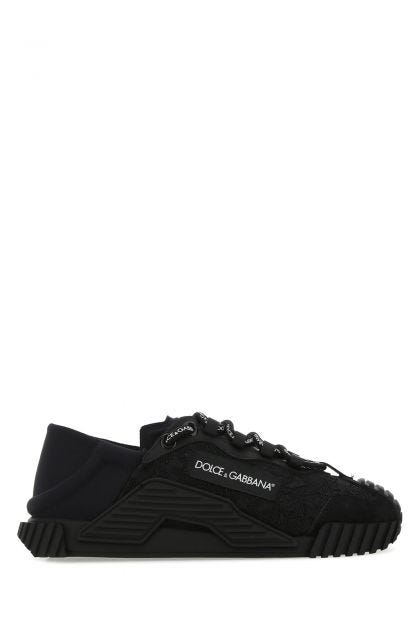Black lace and neoprene NS1 sneakers