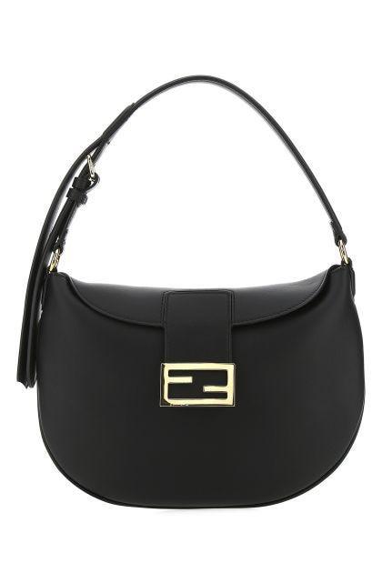 Black leather Croissant small shoulder bag