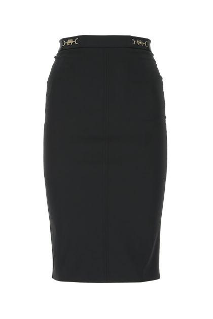 Black stretch polyester skirt