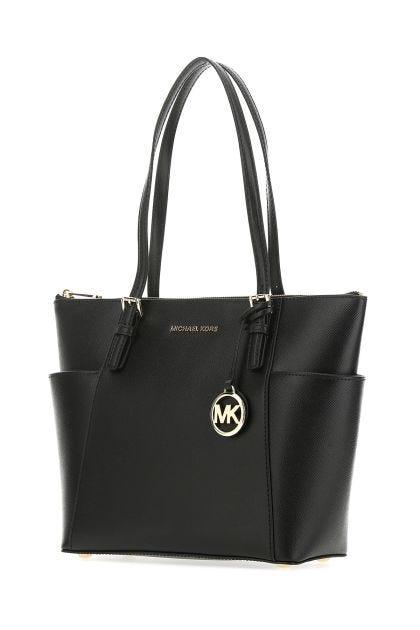 Black leather large Jet Set shoulder bag