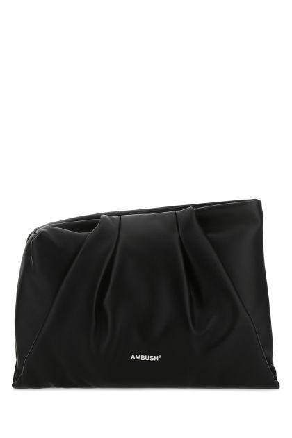 Black nappa leather maxi Wrap clutch