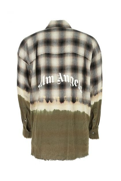 Embroidered stretch linen blend oversize shirt