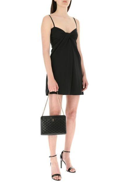 Black silk blend mini dress