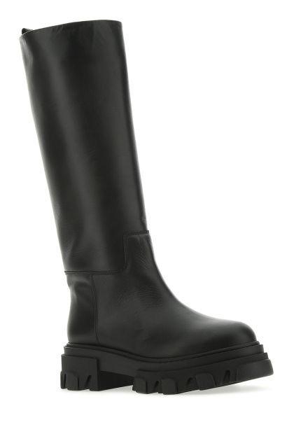 Black leather knee Perni07 boots