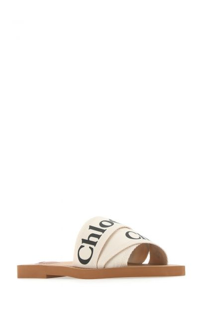 Ivory fabric Woody slippers