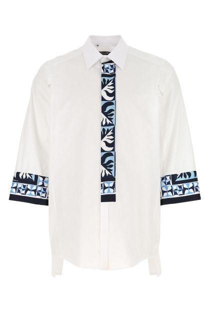 Embroidered cotton blend shirt