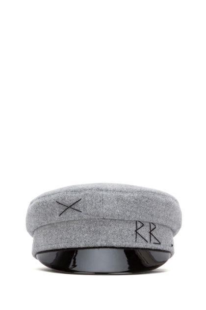 Grey wool baker boy hat