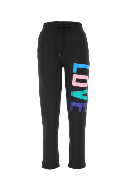 Black stretch polyester joggers