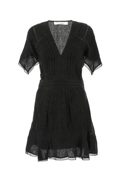 Black linen blend Balco mini dress