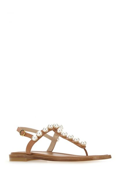 Caramel leather Goldie thong sandals