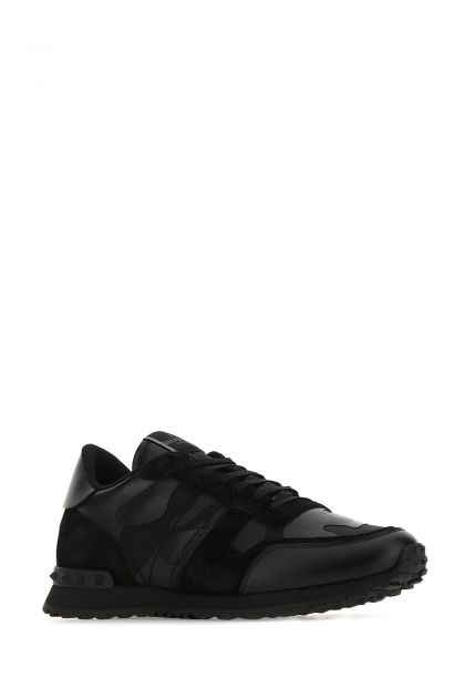 Black nappa leather and fabric Camouflage sneakers