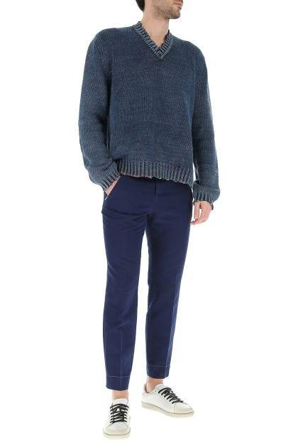Blue cotton blend pant