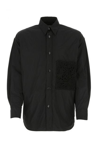 Black polyester oversize shirt