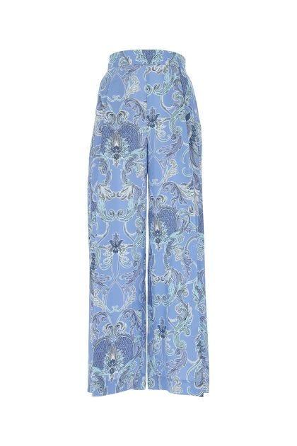 Printed silk wide leg pant