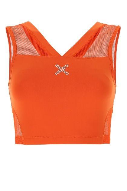 Dark orange stretch nylon top