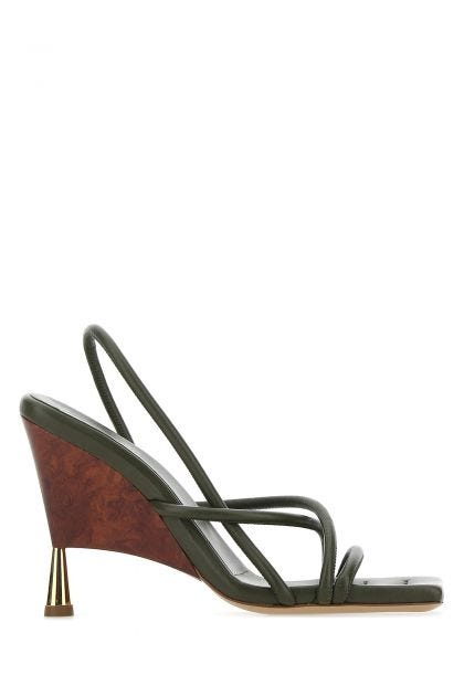 Army green nappa leather Rosie 2 sandals