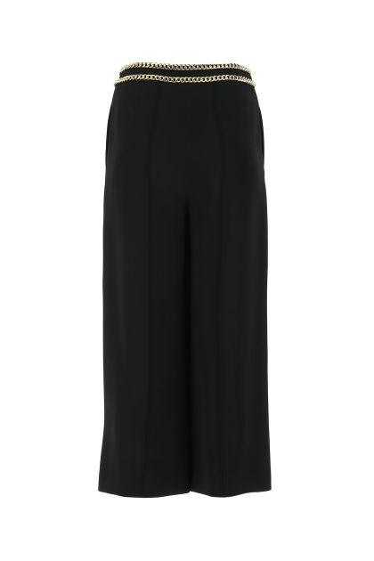 Black stretch crepe culotte pant