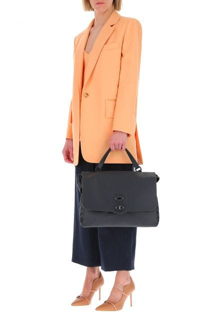 Midnight blue leather Postina Pura M handbag