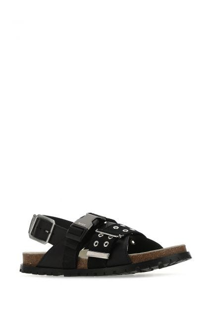 Black fbric and leather Jules sandals