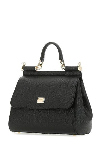 Black leather medium Sicily handbag