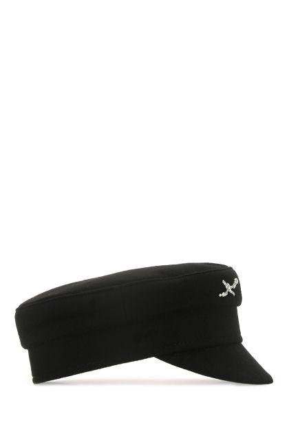 Black wool baker boy hat