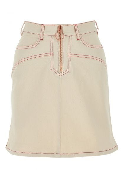 Ivory stretch cotton mini skirt