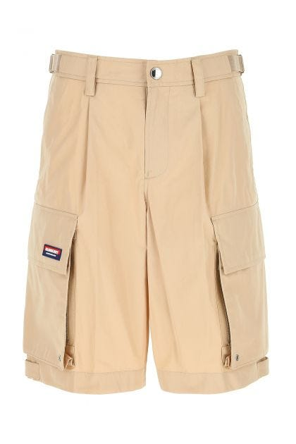 Beige cotton blend bermuda shorts