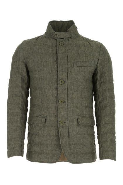 Melange army green linen down jacket