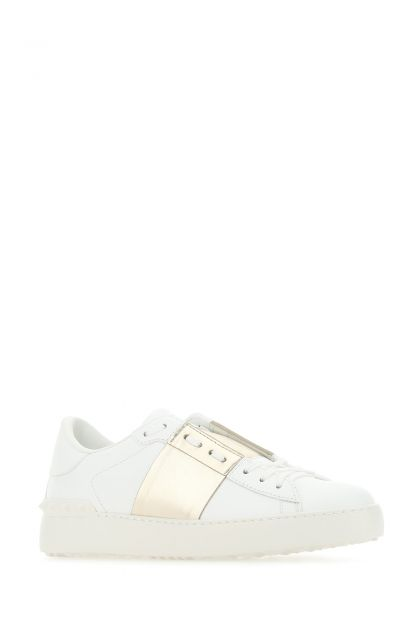 White Open sneakers with platinum band