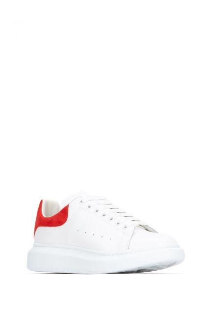 White leather Larry sneakers with red suede heel