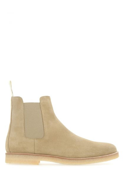 Beige suede Chelsea ankle boots