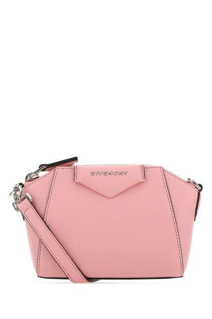 Pink leather nano Antigona crossbody bag