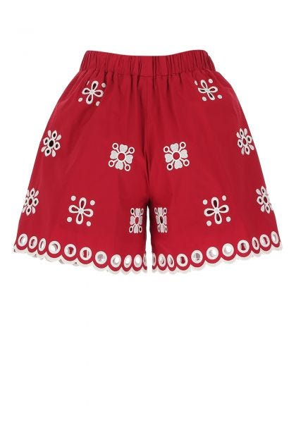 Red stretch cotton shorts