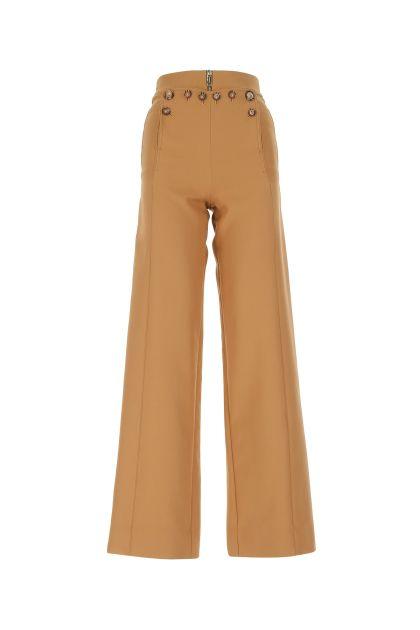 Camel blend cotton wide-leg pant