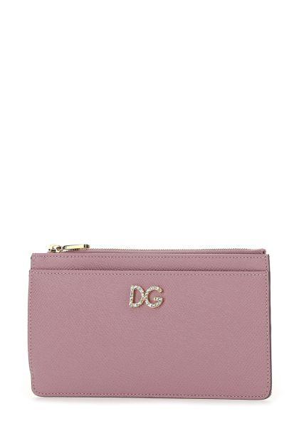 Dark pink leather wallet