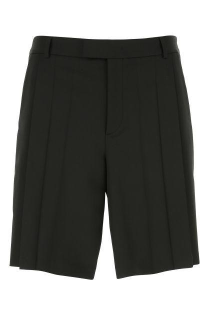Black stretch polyester blend bermuda shorts