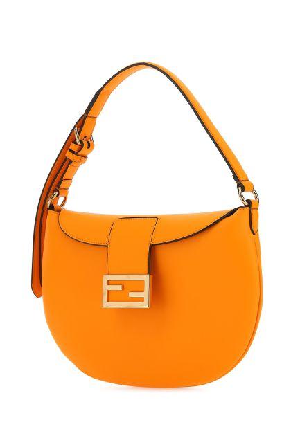 Orange leather Croissant small shoulder bag
