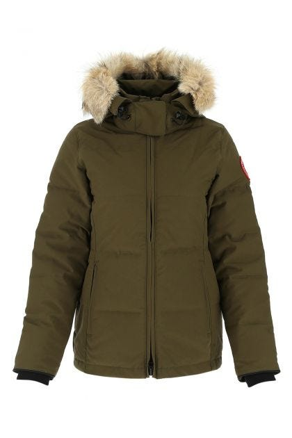 Army green polyester blend Chelsea Parka down jacket