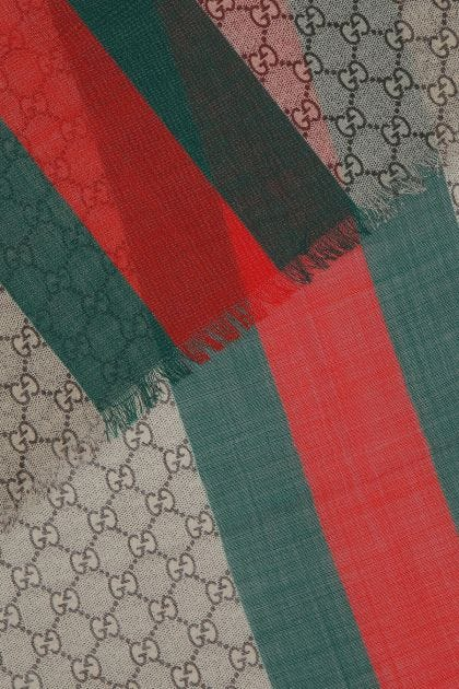 Embroidered wool foulard