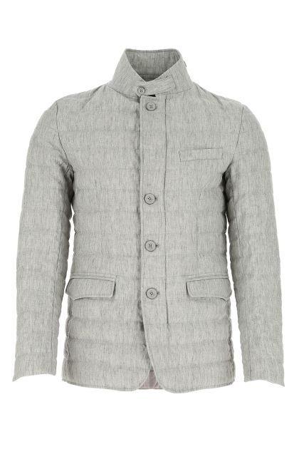 Melange grey linen down jacket