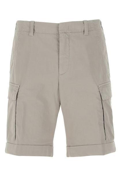 Grey stretch cotton blend bermuda shorts