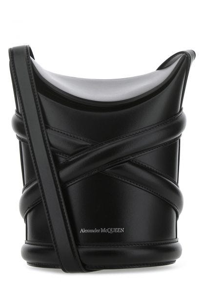 Black leather The Curve bucket bag
